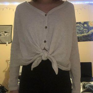 Tie-Up American Eagle Waffle Sweater